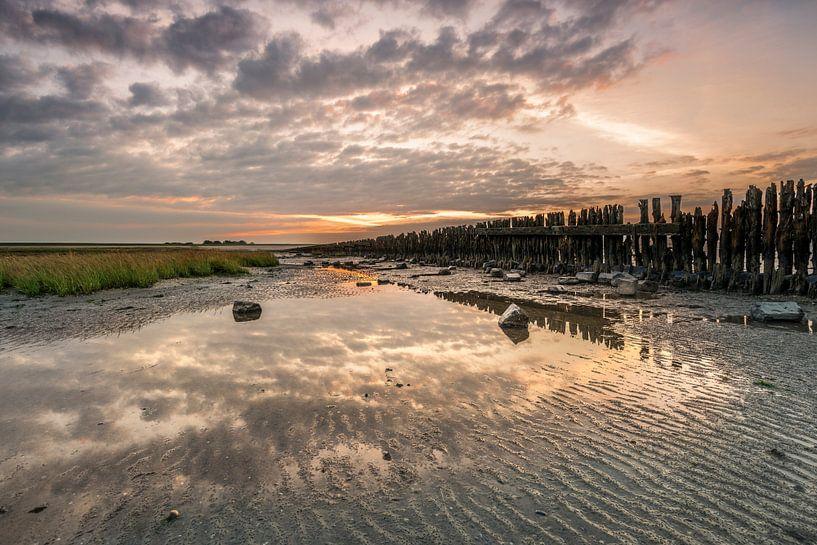 Zonsondergang bij Moddergat van Fotografie Egmond