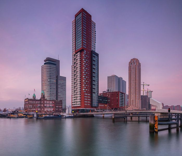 Skyline Rotterdam bij de kop van zuid van Ilya Korzelius