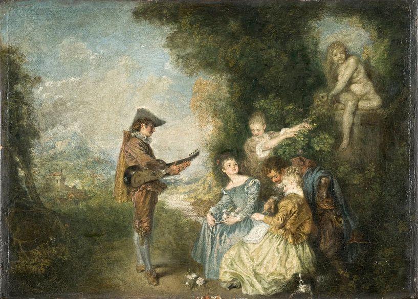 Die Liebesstunde, Antoine Watteau von Meesterlijcke Meesters