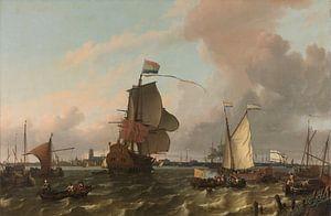 Het oorlogsschip Brielle op de Maas voor Rotterdam, Ludolf Bakhuysen