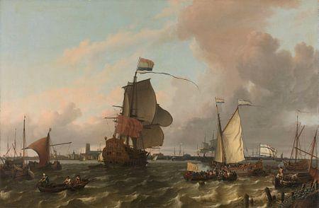 Het oorlogsschip Brielle op de Maas voor Rotterdam, Ludolf Bakhuysen van Meesterlijcke Meesters