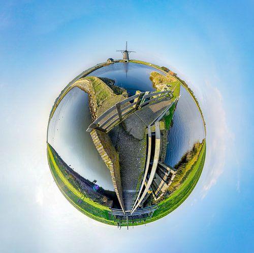 Tiny planet Molen Het Noorden - Texel  van