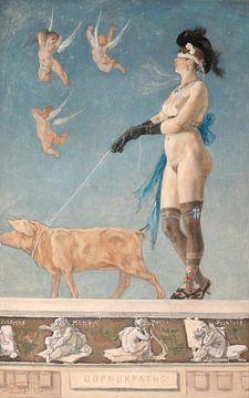 Pornokratès, Félicien ROPS (Namur 1833 - Corbeil 1898) 1878 von Atelier Liesjes
