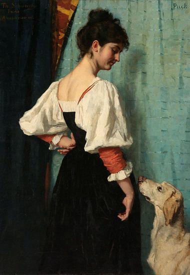Portret van een jonge vrouw met de hond Puck - Thérèse Schwartze