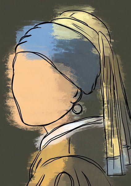 Meisje met de parel modern van Romee Heuitink