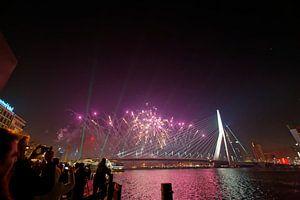 Nieuwjaar 2015 rond Erasmusbrug en De Rotterdam