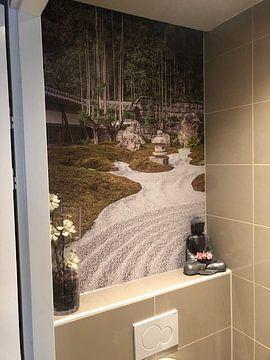 Klantfoto: Japanse zen tuin met kiezels en bamboe van Mickéle Godderis