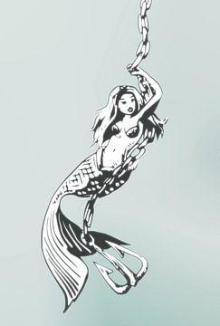 Digitaal kunstwerk - zeemeermin met ketting en anker van Emiel de Lange