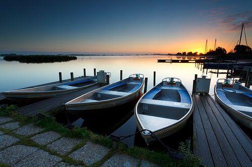 Sunrise at lake harbor