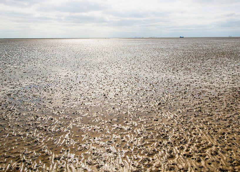 Waddenzee bij eb structuren in het zand van Brian Morgan