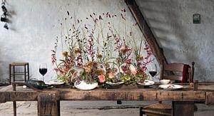 Tafel decoratie in oude schuur.