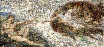 Mosaik Erschaffung Adams, Michelangelo, um 1511 von Atelier Liesjes
