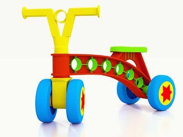 Plastic kinderfiets op vier wielen van