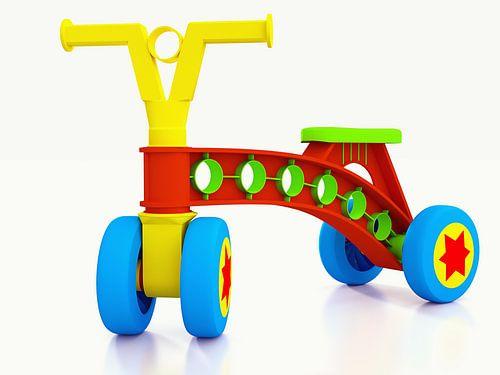 Plastic kinderfiets op vier wielen