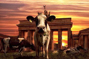 Bizarre Kombination von Kühen in der Mitte Berlins am Brandenburger Tor von Atelier Liesjes