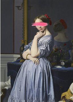 Frau im blauen Kleid von David Potter