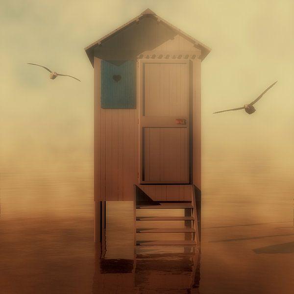 Landschap – Strandhuisje met meeuwen van Jan Keteleer