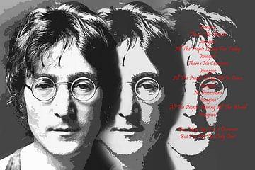 John Lennon, Porträt mit Text Imagine von Gert Hilbink