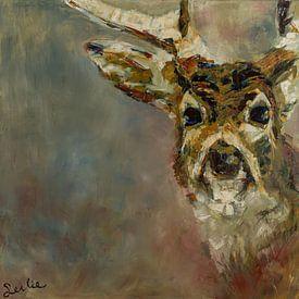 Schilderij van een portret van een hert van Liesbeth Serlie