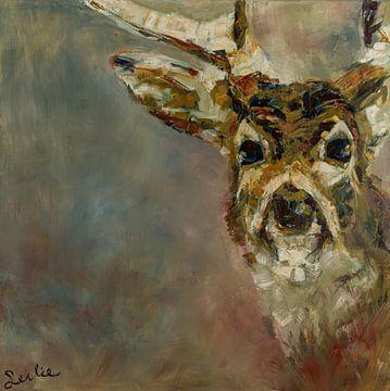 Schilderij van een portret van een hert