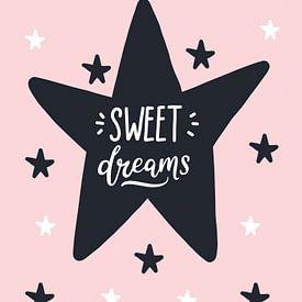 Sweet Dreams, zwart, wit en roze, voor de meidenkamer van STUDIO68 wanddecoratie