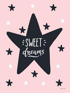 Sweet Dreams, zwart, wit en roze, voor de meidenkamer van