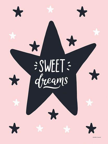 Sweet Dreams, zwart, wit en roze, voor de meidenkamer