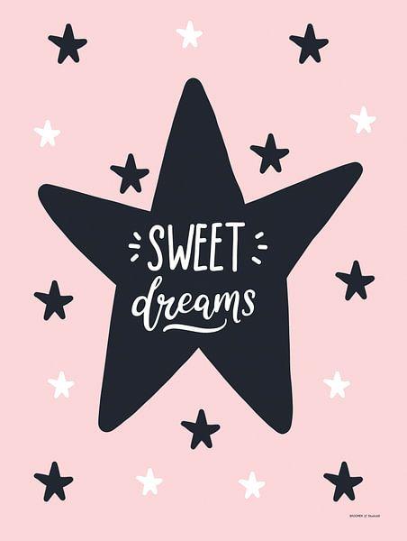 Sweet Dreams, zwart, wit en roze, voor de meidenkamer van AMB-IANCE .com