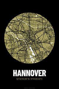 Hannover – City Map Design Stadtplan Karte (Grunge)