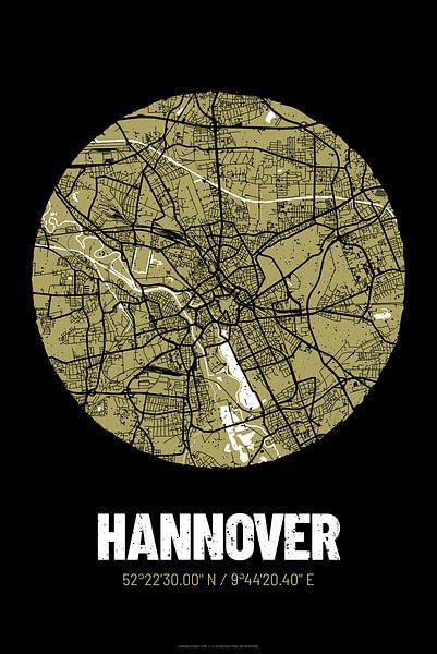 Hannover – City Map Design Stadtplan Karte (Grunge) von ViaMapia