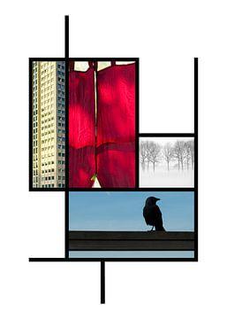 Collage in de kleuren van Piet Mondriaan van Marianne van der Zee