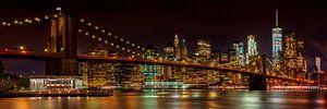 SKYLINE van MANHATTAN EN de BROOKLYN BRIDGE Idyllische night view