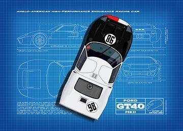 GT40 Daytona 1966 Blauwdruk van Theodor Decker