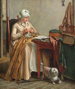 Interieur met naaiende vrouw, Wybrand Hendriks