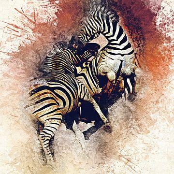 Kämpfende Zebras van Minelle Chevalier