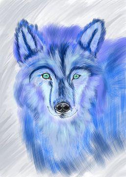 Wolf in onwerkelijke kleuren. van Monique Schilder