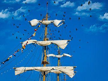 Opgerolde zeilen van een tallship, Sail Amsterdam van Rietje Bulthuis
