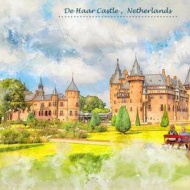 château Château De Haar aux Pays-Bas dans le style d'un croquis sur Ariadna de Raadt-Goldberg