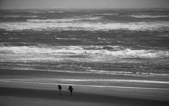 2 Personen am Strand im Wind