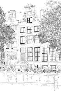 Tekening Herengracht 392 Amsterdam Portret Pentekening Lijntekening