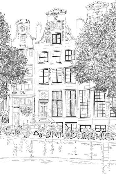 Tekening Herengracht 392 Amsterdam Portret Pentekening Lijntekening van Hendrik-Jan Kornelis