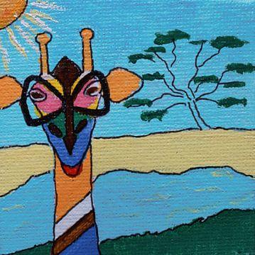Mini-canvas Giraffe met bril van Angelique van 't Riet