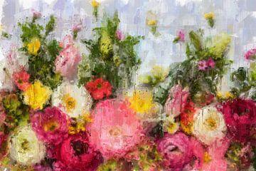 Bloemen op wit van Theodor Decker