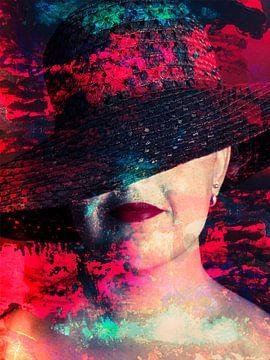 Digitale Foto Kunst - Portret van Vrouw met Rode Lippenstift & Hoed / lippen / mond / verf / roo van