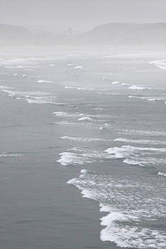 Strand bij Kaap Foulwind in de mist, Nieuw Zeeland van Christian Müringer