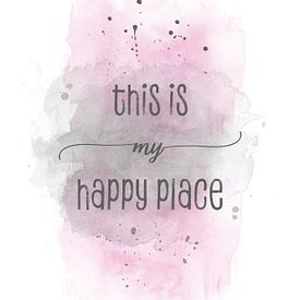 This is my happy place | Aquarell rosa von Melanie Viola