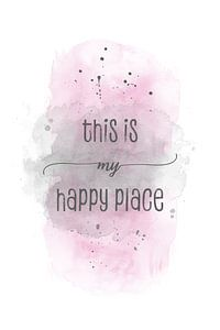 This is my happy place | Aquarell rosa