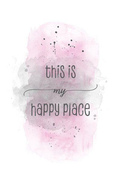 This is my happy place | Aquarell rosa van Melanie Viola
