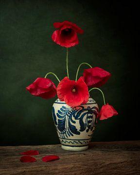 Mohn Stillleben, inspiriert von den Werken der niederländischen Meister von Joske Kempink