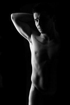 Low key mannelijk model naakt